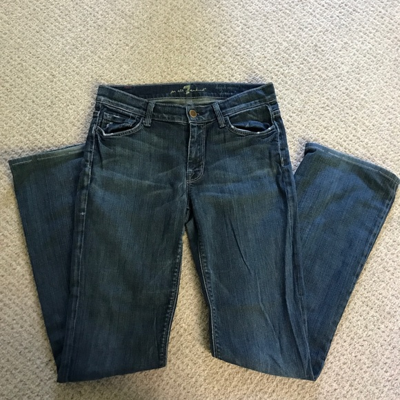 7 For All Mankind Denim - 7 for all Mankind High Waist Distressed Bootcut Je